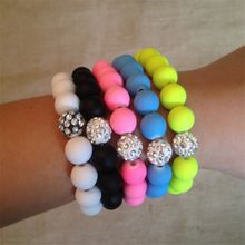 bracelet femme 2016 Handmade Rhinestone Beads Charm Bracelets Stretch Stone Fashion Jewelry Best Friend Candy Color(China (Mainland))