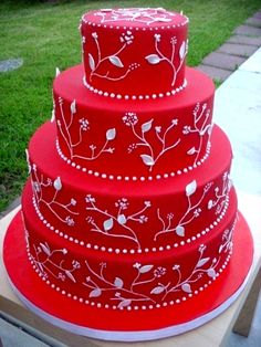 Red and White Plant Cake
