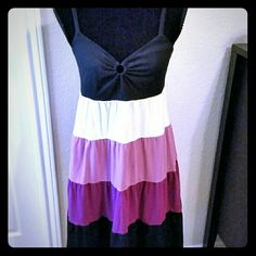 """Ann Taylor Loft Ruffle Sundress - Size M Four ruffles (white, lilac, plum and black) make this 100% cotton dress airy and fun. Adjustable spaghetti straps. Slips and and off - no zipper. Hits right below the knee. 27"""" from the top of the back to the hem. Machine washable. Smoke free home. LOFT Dresses Midi"""