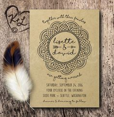 PRINTABLE Mandala Bohemian Wedding Kraft by KittyLovesLou on Etsy