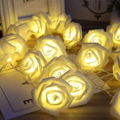 Battery Operated LED Rose Flower Christmas String Lights Save this photo on your board if you ❤️ it. Christmas String Lights, Led String Lights, Flower Lights, Fairy Lights, Led A Pile, Lampe Led, Led Lamp, Lamps, Valentines Day Decorations