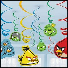 Angry Birds Hanging Swirl Decorations (12 Pack)
