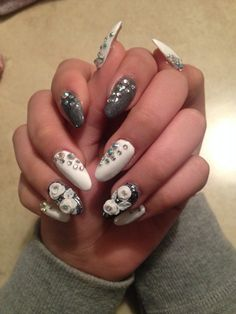 White and silver with 3D nail art