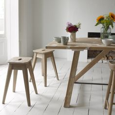 Sand-blasted stunning oak kitchen stools