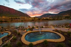Iron Mountain Hot Springs nestled on the Colorado River in Glenwood Springs, Colorado
