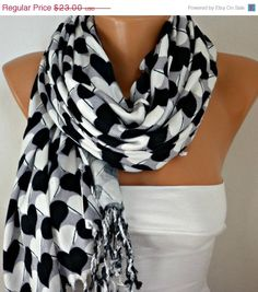 Heart Scarf  Pashmina Scarf  Cotton Scarf Shawl  Scarf by fatwoman,