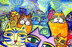 This is a fun lesson using Laurel Burch as inspiration. Colorful kitties!