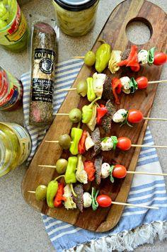 Antipasto Skewers via blogger Katie of Katie's Cucina >> #WorldMarket Game Day Essentials