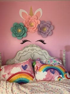 Girl Nursery, Nursery Ideas, Girls Bedroom, Nursery Decor, Bedroom Ideas, Unicorn Rooms, Unicorn Bedroom, Paper Flower Arrangements, Paper Flowers