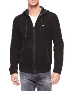 True Religion Mens Perforated Suede Leather Zip up Hoodie Size XXL NWT $598 #TrueReligion #BasicJacket