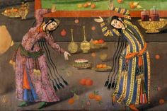 "https://flic.kr/p/brkdU8 | Safavid Art, Isfahan, Iran | Dancers. A wall painting from Chehel Sotoun pavilion in Isfahan, Iran, 17th century  Chehel Sotoun (""Forty Columns"") is a pavilion in the middle of a park at the far end of a long pool, in Isfahan, Iran, built by Shah Abbas II(1632-1666) of the Safavid Dynesti to be used for his entertainment and receptions. In this palace, Shah Abbas II and his successors would receive dignitaries and ambassadors, either on the terrace or in one of th"