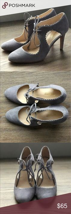 """Nine West Hypatia Scalloped Pumps Brand new scalloped pumps in Grey Suede in size 7. They have an almond pointed toe, lace-up with scalloped trim detail and cutouts. Suede upper, wrapped 3 1/2"""" heel. Unique hard-to-find color. Never been used and perfect condition! Nine West Shoes Heels"""
