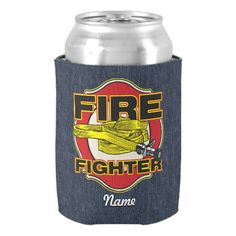 Firefighter Hose and Shield Can Cooler