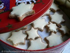Zimtsterne -cinnamon stars -- find German recipes in English @ www.mybestgermanrecipes.com