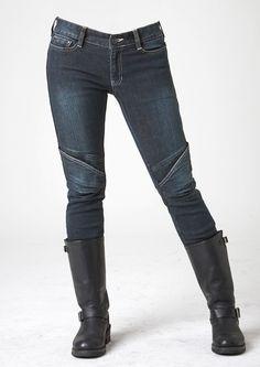 uglyBROS Aegis-K Women's Kevlar reinforced jeans,12 oz stretched cotton, elastic knee & waist-lower back panels, CE approved removable knee & hip protectors