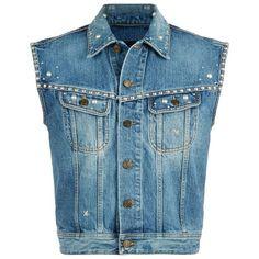 Saint Laurent Studded Denim Gilet (19.415 ARS) ❤ liked on Polyvore featuring outerwear, vests, blue vest, denim waistcoat, denim vest, studded vest and studded denim vest