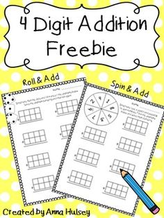 I created these 2 worksheets for my students to use for partner work or independent work during center time. I hope you also find them useful for practicing basic addition skills! Download includes:Roll & Add Worksheet (4 digit)Spin & Add Worksheet (4 digit)If you like what you see please consider leaving some feedback-- it's always greatly appreciated.