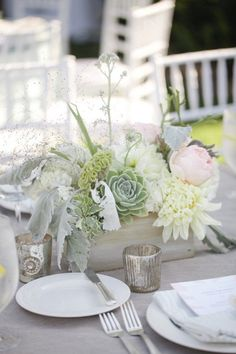 Centerpieces with these plants / flowers:  succulents, sage, dusty miller, pale pink roses and or hydrangeas, white dahlias
