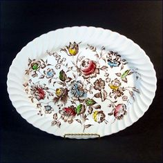 Vintage Ironstone oval serving platter in the Staffordshire Bouquet pattern by Johnson Brothers England. The swirled scalloped rim platter measures Johnson Brothers China, Johnson Bros, Dinner Plates, Dessert Plates, Fancy Schmancy, China Plates, Best Dishes, Plated Desserts, Vintage China