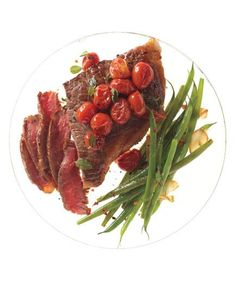 Steak With Skillet Tomatoes and Spicy Sautéed Green Beans | Whether you're on a low-carb diet or trying to fuel up for the day, feel more satisfied with one of these delicious and healthy high-protein recipes.