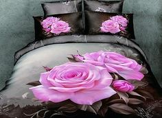 Pink rose bedding sets bed set cotton fabrics home textile green bed linens king queen size economic beding set 2900 Pink Bedding Set, 3d Bedding Sets, Floral Bedding, Bedding Sets Online, Queen Bedding Sets, Comforter Sets, Rose Comforter, Bed Sets, Comforter Cover