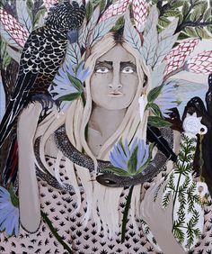"""The Design Files. Leah Fraser - acrylic on polyester canvas """"She's the silent one"""" Contemporary Artwork, Modern Art, The Design Files, Art For Art Sake, Aboriginal Art, Figure Painting, Painting Tips, Portrait Art, Portraits"""