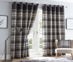 "ORLEANS CHARCOAL 90"" x 90"" EYELET READY MADE CURTAINS TARTAN CHECK GREY SLATE"