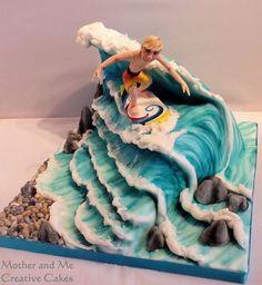 Mother and Me, Creative Cakes, Cake makers Hemel Hempstead, surfer cake Ocean Cakes, Beach Cakes, Fondant Cakes, Cupcake Cakes, Surfer Cake, Surfboard Cake, Airbrush Cake, Theme Sport, Gravity Defying Cake