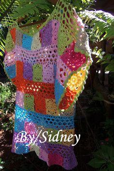 Sidney Artesanato: Minha blusa colorida...boho chic