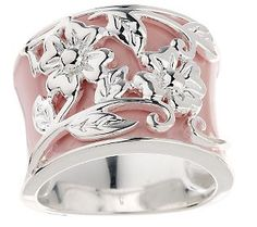 Sterling Pink Enamel Band Ring with Raised Floral Detail