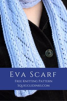 Eva Scarf -- FREE knitting pattern for this easy lace scarf from Squigglidinks