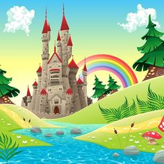 Panorama with castle. Panorama with castle. Cartoon and vector illustration. Folder contains: EPS file; Created: GraphicsFilesIncluded: JPGImage Layered: Yes MinimumAdobeCSVersion: CS Tags: cartoon Background Drawing, Cartoon Background, Landscape Background, Castle Background, Castle Cartoon, Castle Illustration, Landscape Model, Free Cartoons, Princess Castle