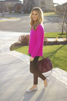 hot pink sweater                                           Leather Leggings...