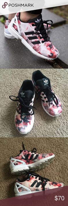 Adidas Flux sneakers Worn couple of times. Unfortunately they 1 size big for me condition like new. It's kids size 4, which makes it size 6 in women Adidas Shoes Sneakers