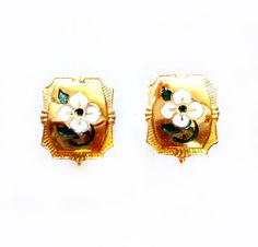 Vintage Flower Earrings, Gold Enamel Floral