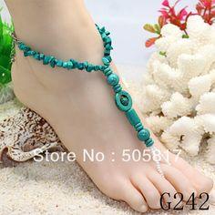 Clásico hecho a mano puro de los pies de la cadena de joyería pulsera nudal sandalia descalzo la novia de cuentas pulseras para el tobillo al por mayor y al por menor 20pcs/lot g242