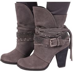 Grey Suede Sparkling Strappy Boot (€110) ❤ liked on Polyvore featuring shoes, boots, suede leather shoes, grey suede shoes, strappy boots, grey shoes and gray boots