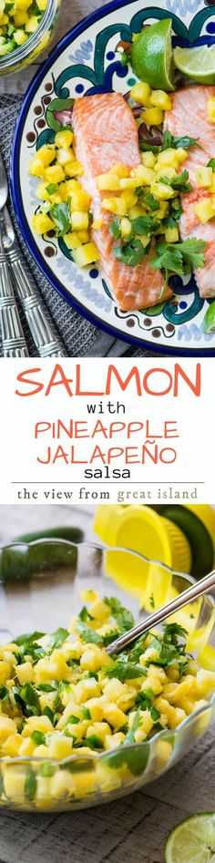 Salmon with Pineapple Jalapeno Salsa ~ this is a simple meal for a warm night, and the salsa can double as an appetizer ~ just add some great chips and an ice cold beer or margarita! |main course | fish | appetizer | summer | Mexican | salsa | side dish | paleo | whole 30 | gluten free | low carb #IceCold