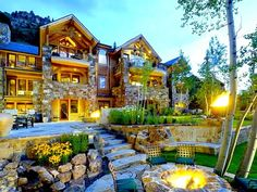 Rustic stone architecture and beautiful mountain scenery! Skyview Mountainside Home at 1520 Tiehack in Aspen, Colorado - Luxury ski home