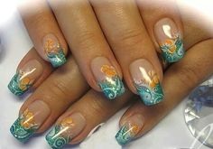 Pretty glitter french with orange flowers.