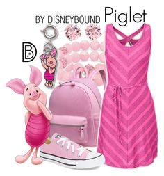"""Piglet"" by leslieakay ❤ liked on Polyvore featuring Palm Beach Jewelry, Disney, L. Erickson, The North Face, Converse, disney, disneybound and disneycharacter"