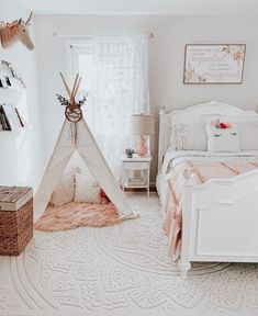 How magical is this room? did a phenomenal job creating this special space for her little girl. I love how she paired our Goldie Dots Beddy's with our Blushed Beddy's Blanket. - Home Design Little Girl Beds, Bed For Girls Room, Little Girl Rooms, Girls Bedroom, Bedroom Decor, Bedroom Ideas, Beddys Bedding, Girl Bedroom Designs, Dream Rooms