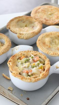 Individual chicken pot pies to warm you up on a cold day!