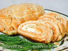 Пирог-рулет с рыбой. Фотография рецепта