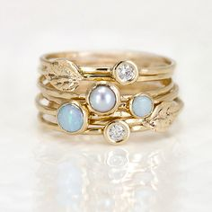 Leaf, Opal, Diamond, and Pearl Stacking Ring Set by Melanie Casey: Gold & Stone Ring available at www.artfulhome.com