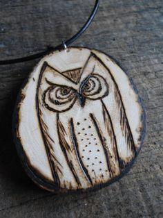 Wood Burned Owl Necklace