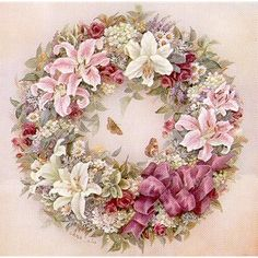 """Lena Liu """"Wreath of Lilies"""" is a signed print and canvas by floral watercolor artist Lena Liu"""