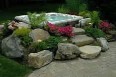 backyard ideas budget friendly inspiration, decks, outdoor living, patio, spas, Hot Tub In Garden Effect