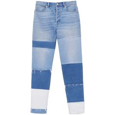 La Vie Patched Jean ($99) ❤ liked on Polyvore featuring jeans, high waisted jeans, patchwork jeans, high rise denim jeans, patch jeans and zipper denim jeans
