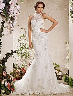 Trumpet/Mermaid High Neck Court Train Lace Tulle Wedding Dre... – USD $ 283.49